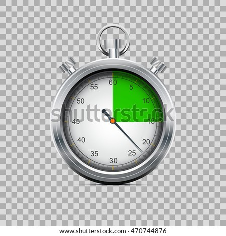 Silver stopwatch showing passing the deadline vector illustration
