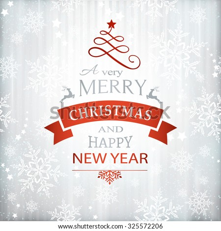 Silver textured background with snowflake pattern and faint stripes as base for the wording, Merry Christmas and Happy New Year embellished with Christmas Ornaments. - stock vector