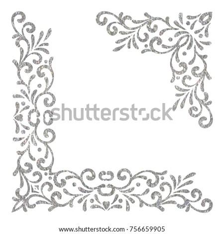 Silver Textured Vintage Corners On White Background Elegant Hand Drawn Retro Floral Border Design
