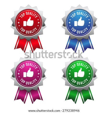 Silver top quality badges on white background - stock vector