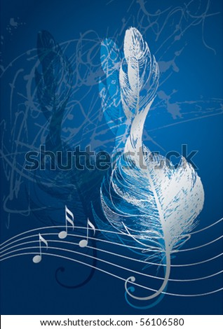 Silver treble clef in the form of the bird's feather on the blue background. - stock vector