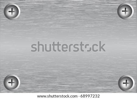 Silver vector background and screws. - stock vector