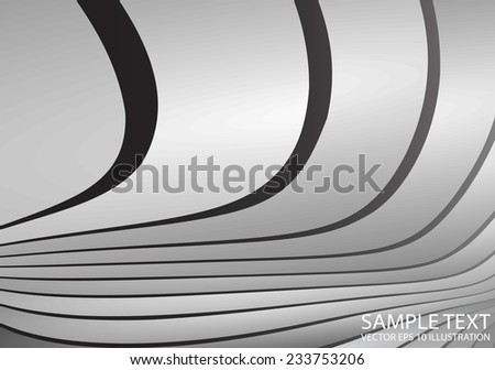 Silver vector curved abstract background illustration - Abstract  curved metal vector design template - stock vector