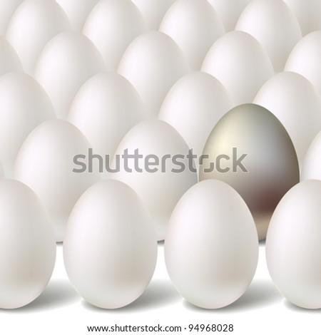 Silver vector egg concept - stock vector