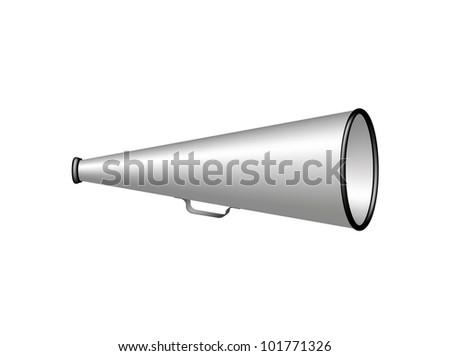 Silver vintage megaphone - stock vector
