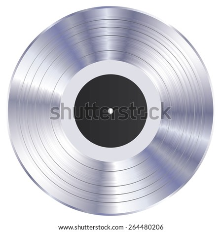 Silver vinyl record vector illustration. - stock vector