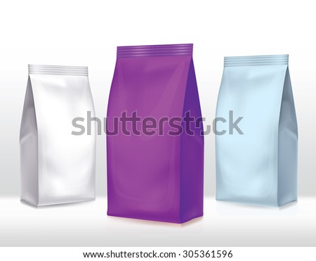 Silver-violet bag package on a white background - stock vector