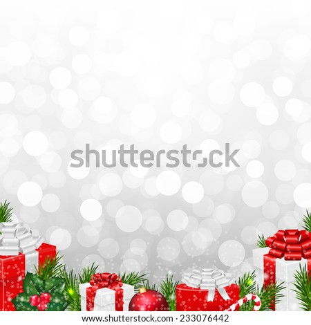 Silver Wall With Fir Tree Border With Gradient Mesh, Vector Illustration - stock vector