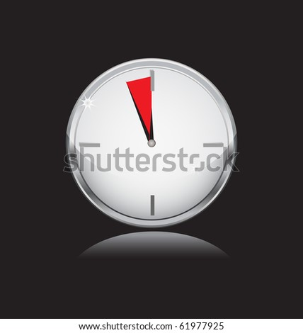 silver watch with last five minute sector - stock vector