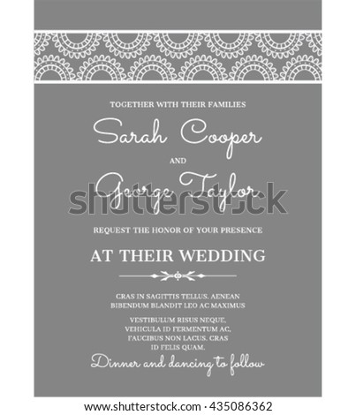 Silver Wedding Invitation Card with lace ornaments