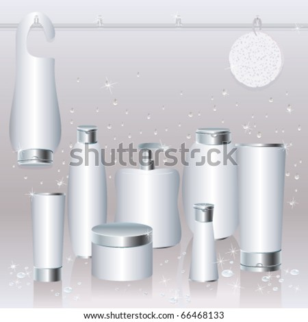 Silver-white set of cosmetics packaging - stock vector