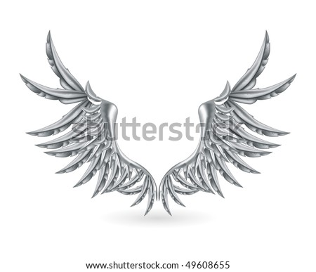 Silver Wings, vector - stock vector