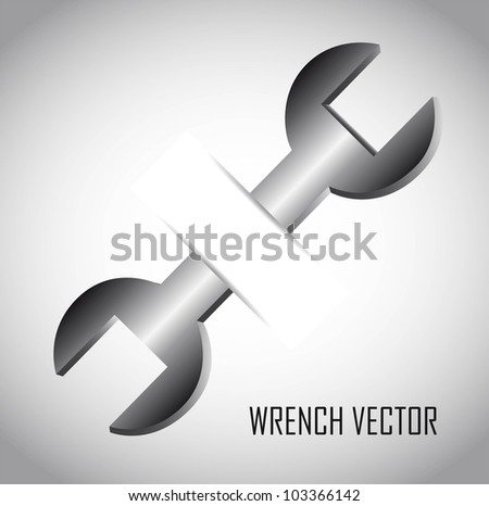 silver wrench over gray background. vector illustration - stock vector
