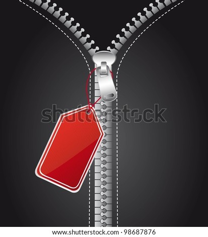silver zip with red tag, background. vector illustration - stock vector
