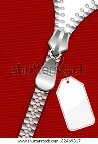 Silver zipper with blank tag over red fabric