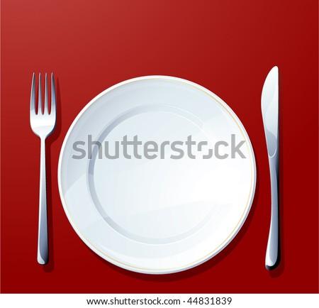 Silverware on red. Vector. - stock vector