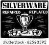 Silverware Repaired Replated - Ad Header - Retro Clipart - stock vector