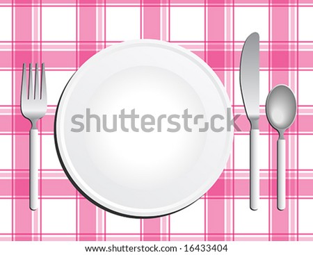 Silverware With A Plate On Pink Checkered Tablecloth
