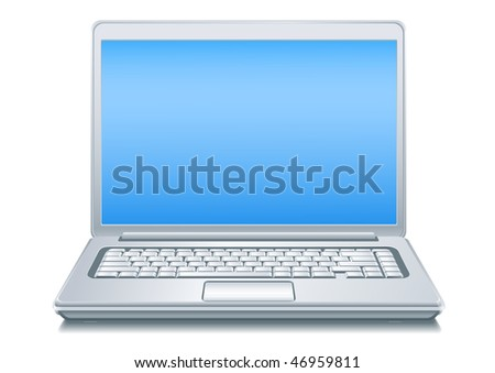 Silvery Laptop. Vector illustration. High detailed elaboration. Gradien only. No mesh. - stock vector