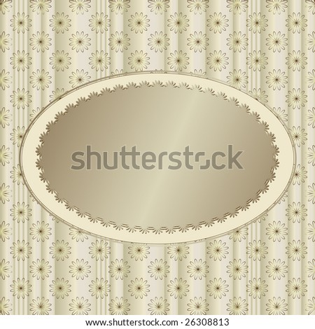 Silvery striped floral  background with silvery banner (vector) - stock vector