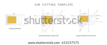 sim card cutting template standard micro stock vector 612537575