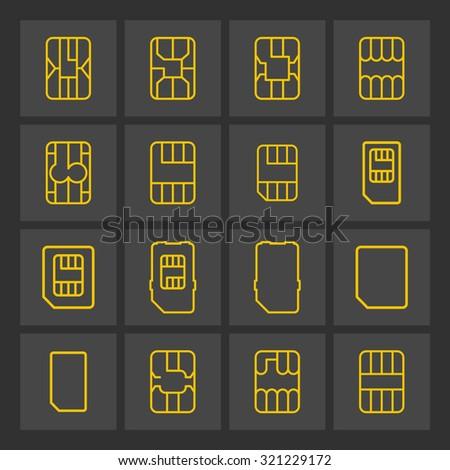 sim card icons - stock vector