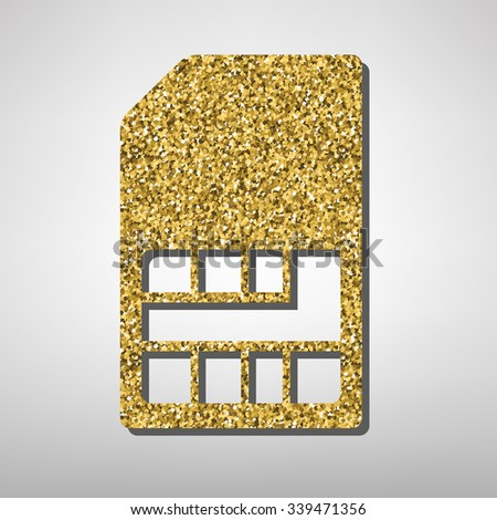 Sim card  illustration. Golden icon - stock vector