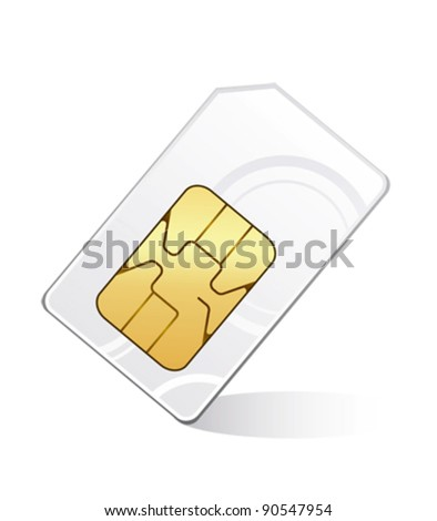 Sim card isolated on white - stock vector