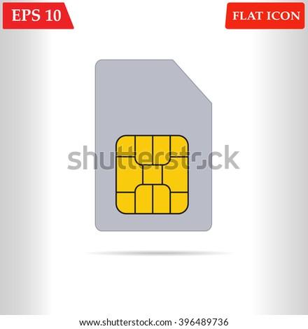 Sim card vector icon.Flat design - stock vector
