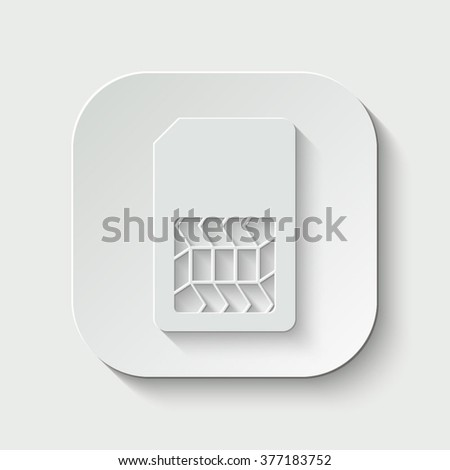 sim card vector icon - paper illustration