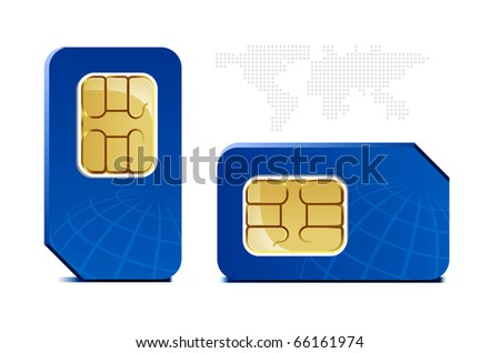 SIM card with globe and map - stock vector