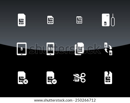 SIM cards (mini, micro, nano) icons on black background. Vector illustration. - stock vector