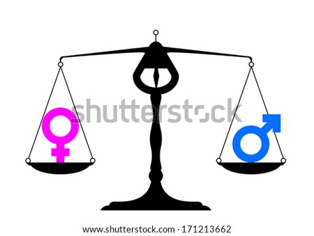 simpe illustration of a balance with icons for man and woman on equal ground, symbol for gender equality, eps10 vector - stock vector