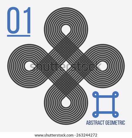 Simple abstract geometric figure with endless lines and auxiliary elements - stock vector