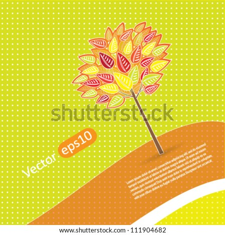Simple abstract nature vector background with autumn tree - stock vector