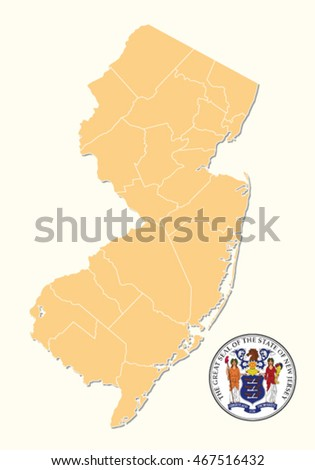 simple administrative and political map with seal of the US State New Jersey