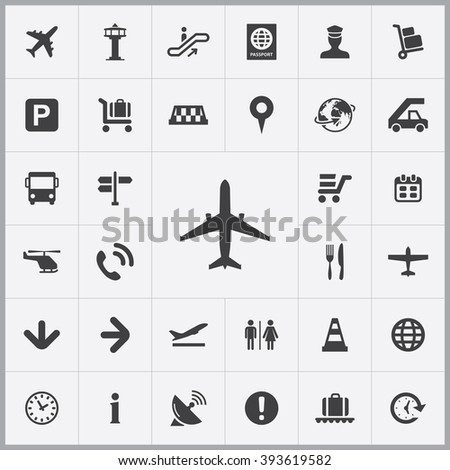Simple airport icons set. Universal airport icons to use for web and mobile UI, set of basic UI airport elements - stock vector