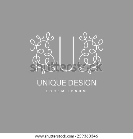 Simple and elegant logo design template. Vector monogram with floral border drawn in single simple lines. Linear decor around one letter.  - stock vector