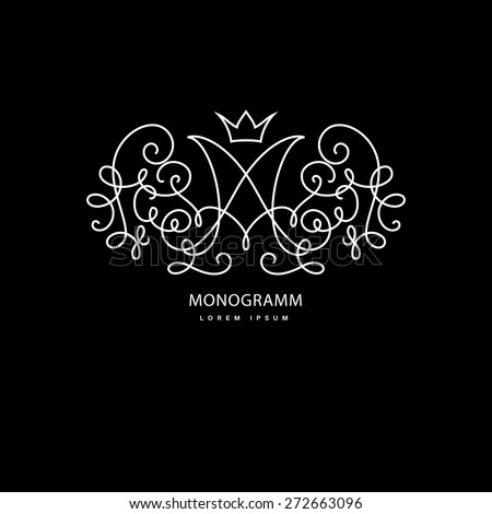 Simple and elegant logo design template. Vector monogram with floral border drawn in single simple lines. Linear decor around one letter m. - stock vector