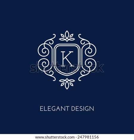 Simple and elegant monogram design template with letter K. Vector illustration. - stock vector