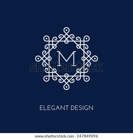 Simple and elegant monogram design template with letter M. Vector illustration. - stock vector