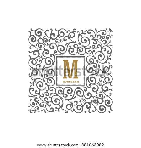 Simple and elegant monogram template with flourishes calligraphic ornament frame. Identity design for restaurant, cafe, shop, store, boutique, hotel, heraldic, fashion and etc. Vector illustration. - stock vector