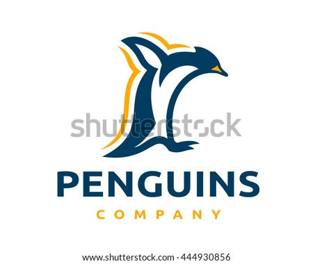 Simple and original logo with the jumping penguin mascot - stock vector
