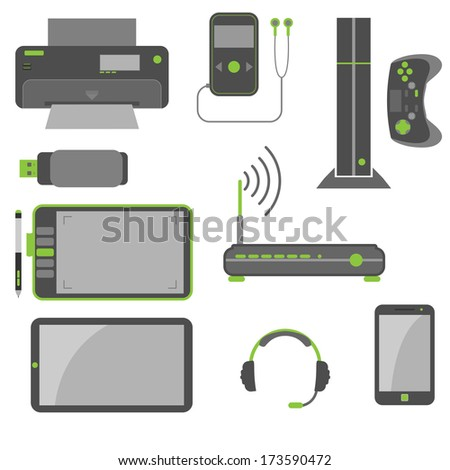 Simple and stylish computer devices icons in green and gray colors. - stock vector