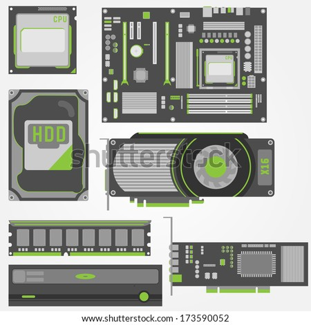 Simple and stylish icons for computer parts in green and gray colors. - stock vector