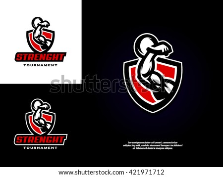 Simple and stylish sports logo with the image of a muscular arm, which holds the weight - stock vector
