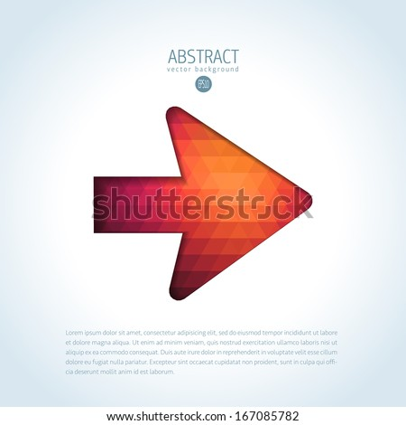Simple arrow sign of modern creative triangle pattern - stock vector