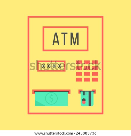 simple ATM template isolated on yellow background. concept of withdrawal, bank settlements and pay regular bills. flat style trendy modern design vector illustration - stock vector