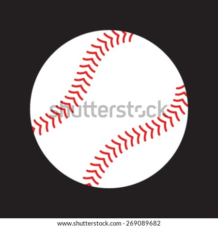 Simple Baseball with Red Stitches vector icon - stock vector