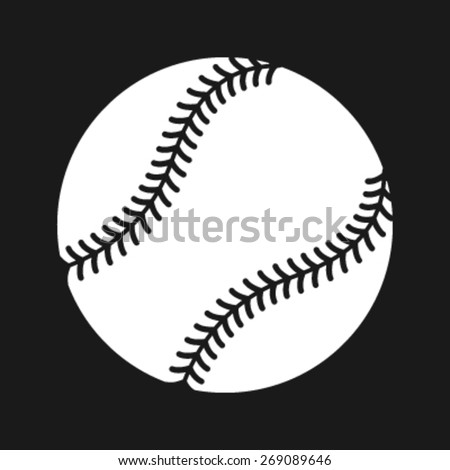 Simple Baseball with Stitches vector icon - stock vector